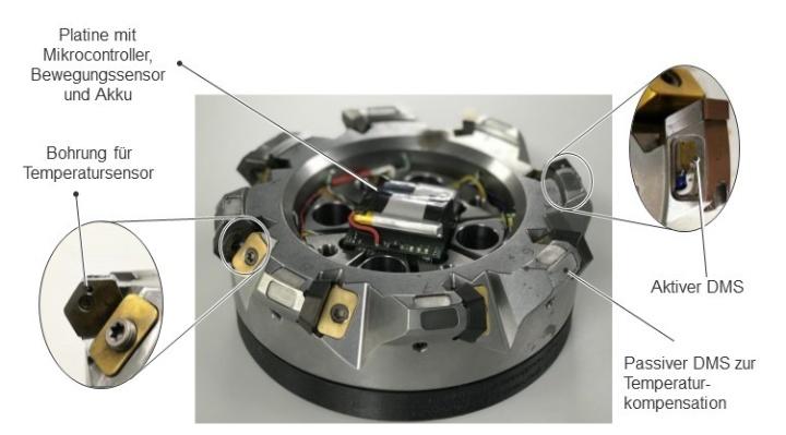 Prototyp des Werkzeugs 4.0 (Cyber-Physisches Werkzeug), Messerkopf des Typs HE60 der Firma AVANTEC mit Mikrocontroller, diversen Sensoren und BLE-Modul